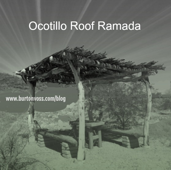 Four pole ramada with an ocotillo roof.